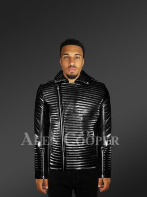 New Men's Quilted Black Leather Motorcycle Jacket with Model