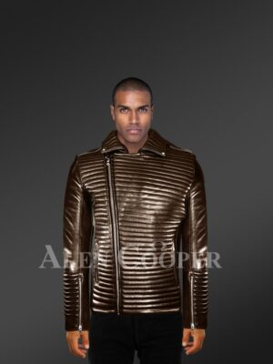 New Mens Goodspeed Quilted Coffee Leather Motorcycle Jacket model
