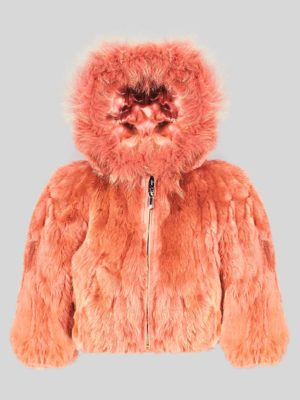 Orange colored real rabbit fur winter outerwear for kids
