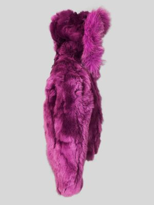 Soft purple fur outerwear for child with hood side view