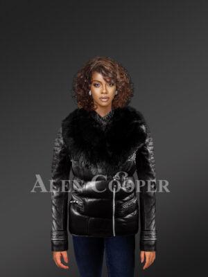 Women's Quilted Black Motorcycle Biker Jacket With detachable Black Fox Fur Collar