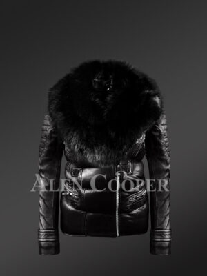Womens Quilted Black Motorcycle Biker Jacket With detachable Black Fox Fur Collar