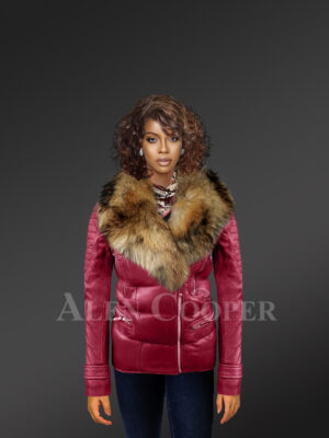 Women's Puffy Motorcycle Jacket With Fur in Wine new