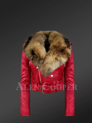 Women's Short Length Moto Jacket With Fur in Burnt Red New