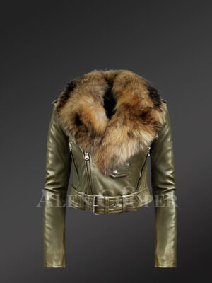 Women's Short Length Moto Jacket with Fur in Olive new
