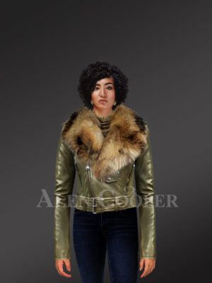 Women's Short Length Moto Jacket with Fur in Olive new with Model