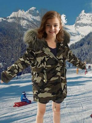Army green kid's parka with raccoon fur hood for kids