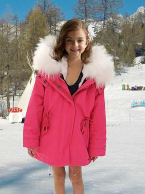 Beautiful kid's parka with fur hood in punch pink