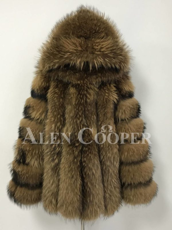 A real and perfect raccoon fur winter vest with hood for women