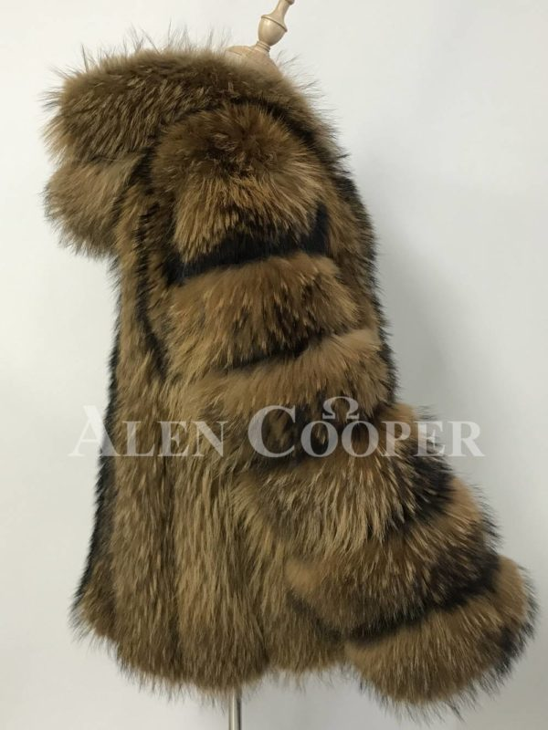 A real and perfect raccoon fur winter vest with hood for women Side view