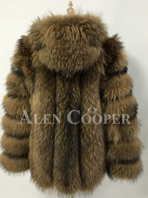 A real and perfect raccoon fur winter vest with hood for women back side view