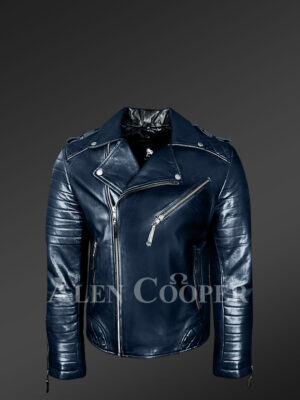 Men's navy real leather warm winter biker jacket with lapel collar new