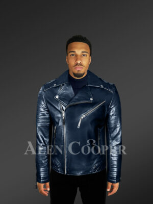 Men's navy real leather warm winter biker jacket with lapel collar new with model