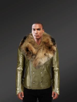 Olive Moto jacket with Raccoon fur collar new model