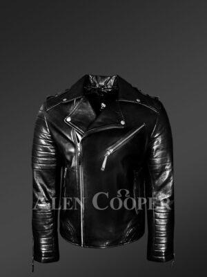 Real leather lapel collar winter biker jacket for men in black new