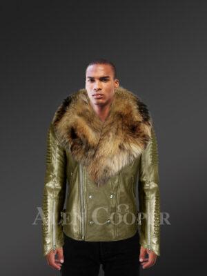 Real raccoon fur collar asymmetrical zipper closure real leather jacket new model