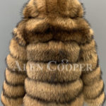 Real raccoon fur sable winter vest for women back side view