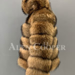 Real raccoon fur sable winter vest for women back side view side view