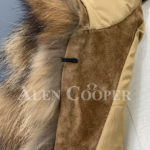 Real raccoon fur sable winter vest for women close view