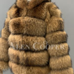 Real raccoon fur sable winter vest for women side view