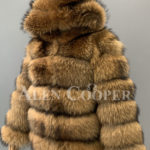 Real raccoon fur sable winter vest for women sideview