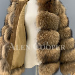 Real raccoon fur sable winter vest for women sideview inner view