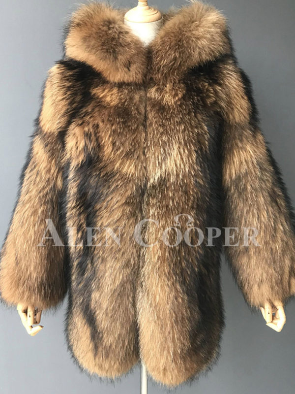Real raccoon fur winter outerwear with stylish hood