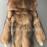 Real raccoon fur winter outerwear with stylish hood for women