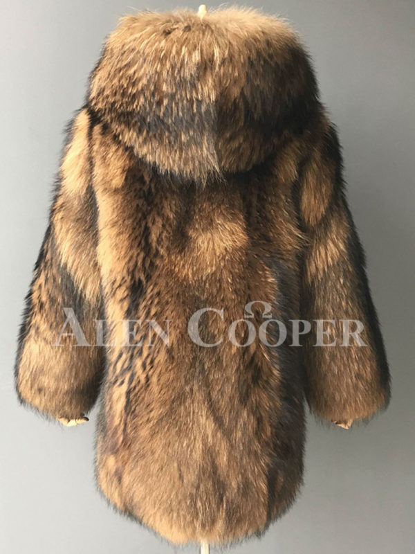 Real raccoon fur winter outerwear with stylish hood for women backside view