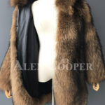 Real raccoon fur winter outerwear with stylish hood for women inner view