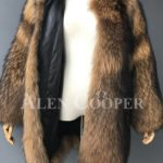 Stylish n floppy real raccoon fur winter outerwear for women Inner view
