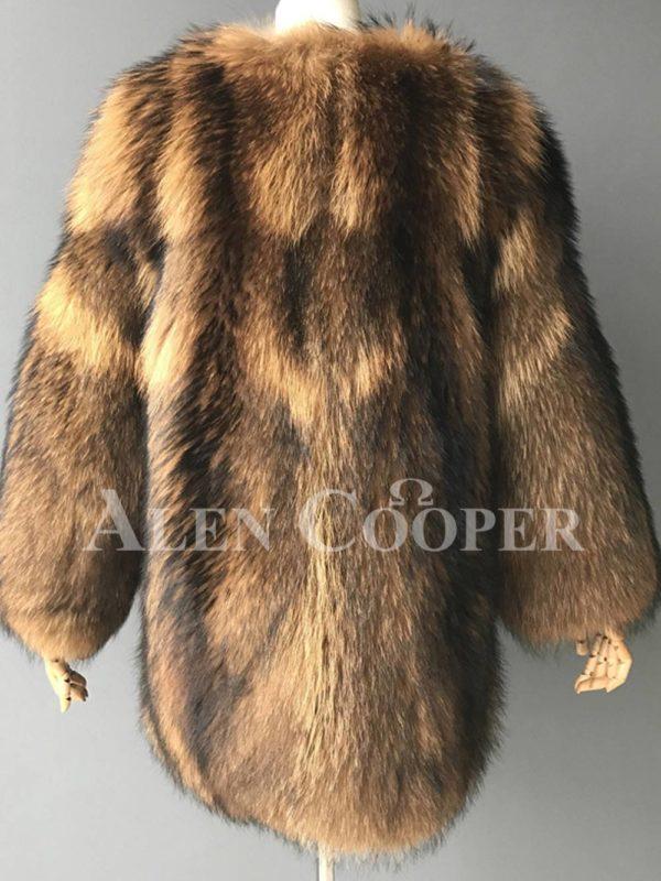 Stylish n floppy real raccoon fur winter outerwear for women back side view