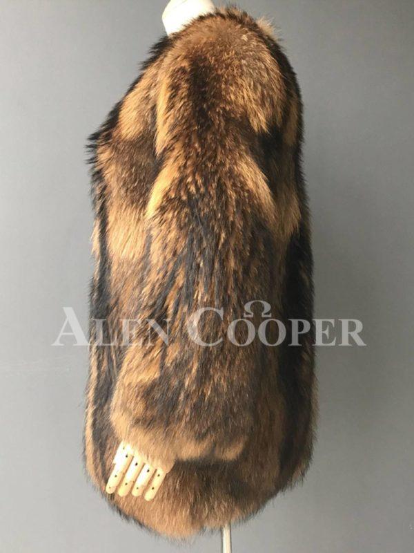 Stylish n floppy real raccoon fur winter outerwear for women side view