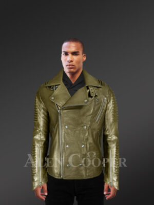 Super stylish real leather winter biker jacket with lapel collar with Model new