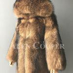 Women Real raccoon fur winter outerwear with stylish hood