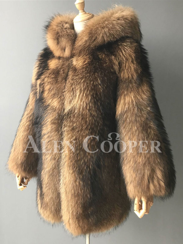 Women Real raccoon fur winter outerwear with stylish hood side view