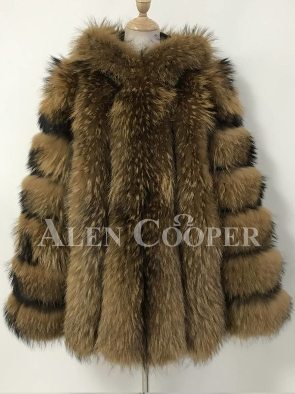 Women real and perfect raccoon fur winter vest with hood