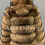 women Real raccoon fur sable winter vest for back side view