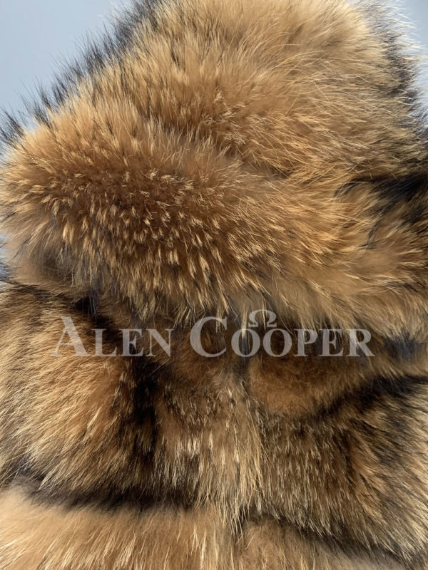 women Real raccoon fur sable winter vest for part side view