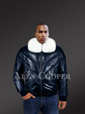Men's navy real leather vintage v bomber jacket with snow white real fox fur collar new model