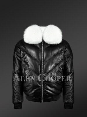 Mens iconic premium lamb skin black v-bomber jacket with detachable white fur collar new