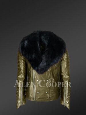 Mens stylish rich olive real lamb skin biker jacket with wide black fur collar new view