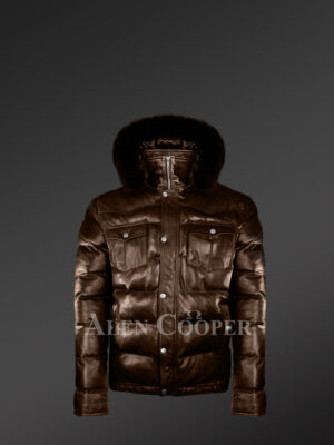 New Quality quilted real leather warm winter coat for men with real fur hood