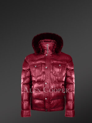 New Super stylish real leather quilted winter coat for men in Wine