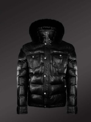 Real Leather Puffy Jacket With Detachable Fur Hood new view