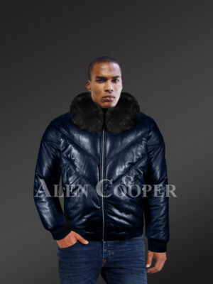 Super stylish vintage real leather v bomber jacket with crystal fox fur collar new model