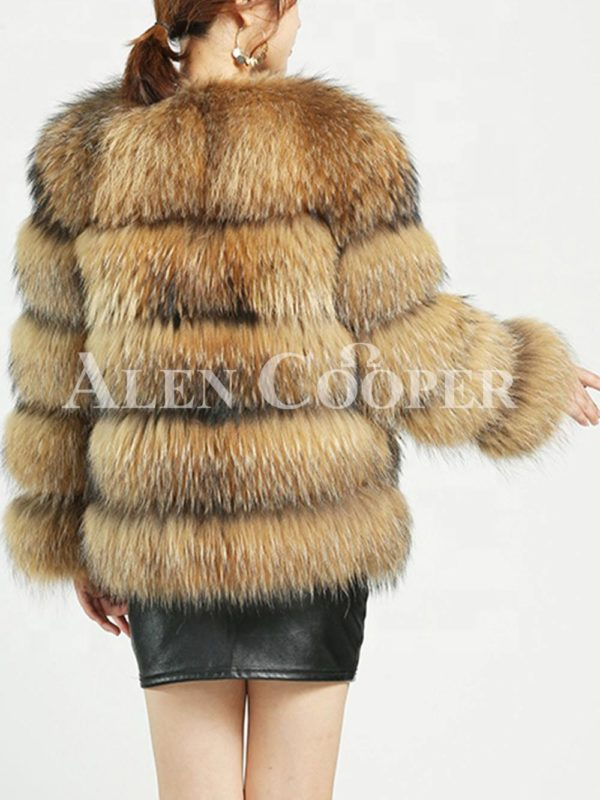 Thick real fur warm winter coat for women with detachable fur collar back side view