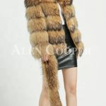 Thick real fur warm winter coat for women with detachable fur collar side view