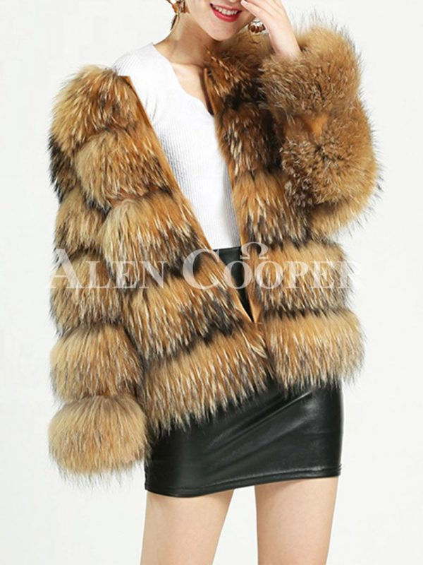 Thick real fur warm winter coat for women's with detachable fur collar