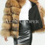 Thick real fur warm winter coat for womens with detachable fur collar